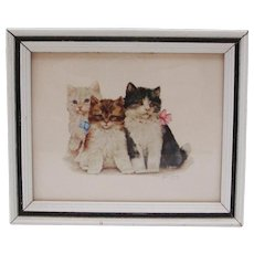 1950's Grace Lopez Framed Kittens Lithograph ~ Nursery ~  Children's Room