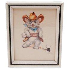 1950's Anthropomorphic Cowboy Kitten ~ Cat Framed Lithograph