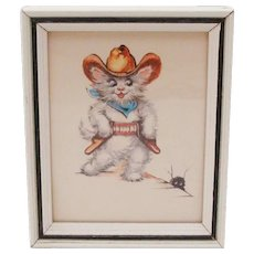 1950's Anthropomorphic Cowboy Kitten ~ Cat Framed Lithograph