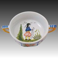 HB Henriot Quimper France Breton Man Mistral Blue French Cream Soup Bowl Double Handle