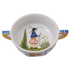 HB Henriot Quimper France Breton Man Mistral Blue French Cream Soup Bowl Double Handle