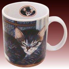 "1998 Lang & Wise Trio of Kittens Collector Cat Mug ""Morton, Norris and Natasha Williams"""