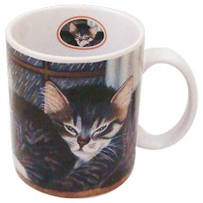 "1998 Lang & Wise Trio of Kittens Collector Cat Mug ""Morton, Norris and Natasha Williams"""