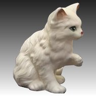 Vintage Silver Tipped White Long Haired Kitten Cat w/ Raised Paw by Lefton