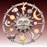 Vintage JJ ~ Jonette Jewelry Co. Celestial Sun Moon Planets Stars Astrology Pin Brooch Pewter w/ Brass Finished Accents