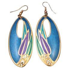 Bold Colorful Designer Signed Edgar Berebi 80 S Enamel Pierced Long Dangling Earrings