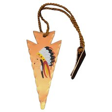 1960's Souvenir Hand Painted Arrow w/ Native American Indian Chief Trinket Tack from Jack and Jill Ranch