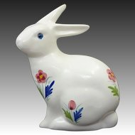 Glass Eyed Pottery Bunny Rabbit Hand Painted Alcobaca Portugal