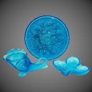 Kemple & Wheaton ~ Wheatonware Glass E.A.P.G. Reproduction Blue Glass Collection