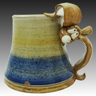 Whimsical Silly Rabbit Hand Thrown 3-D Pottery Mug by Whole Earth Clay Works