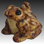 Delightful Realistic Pottery Toad w/ Baby on Back