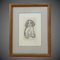 Springer Pup Signed by Marsha K. Howe, Limited Edition Etching 40/150 ~ Numbered & Dated by Listed Artist