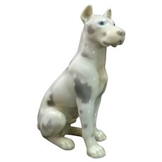 Majestic 1950's Porcelain Harlequin Great Dane Dog by Bing Grondahl ~ B&G Denmark