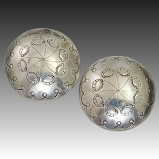 Exquisite Sterling Silver Concho Earrings by Native American Silversmith Jack Tom