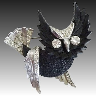 Carved Black Lucite & Rhinestone Flying Owl Pin