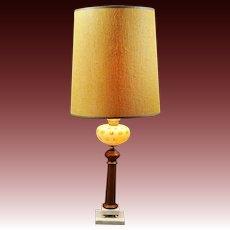 Mid Century Modern Fenton Honeysuckle Coin Dot Glass, Italian Marble & Teak Wood Lamp