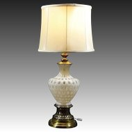 Elegant & Ornate Fenton Opalescent Coin Dot Glass Lamp