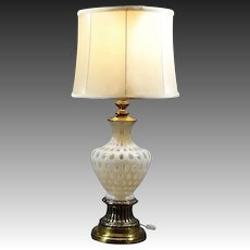 Elegant & Ornate Fenton Opalescent Coin Dot Glass Lamp