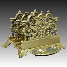 Ornate Brass Doré Tiered Griffins, Cross & Rocaille Footed Letter Holder Rack w/ Scallop Shell Tray
