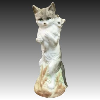 Antique 19th Century Rare Bisque Anthropomorphic Standing Adult Cat Carrying Tiny Kitten