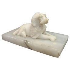 Antique Carved Alabaster Recumbent Dog on Marble Base