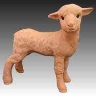 Delightful Terracotta Glass Eye Lamb Statue by Earth Needs Ltd of California