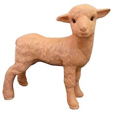 Spring Sale!! Delightful Terracotta Glass Eye Lamb Statue by Earth Needs Ltd of California