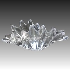 French Free Form Sparkling Art Glass Scalloped Shell Centerpiece by Cofrac Art Verrier France