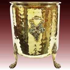 Unique Antique Art Nouvea Hammered Brass Footed Jardiniere ~ Planter