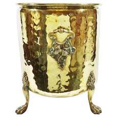 Unique Antique Art Nouvea Hammered Brass Footed Jardiniere ~ Planter