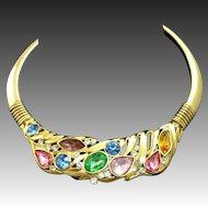 Bold 1980's Colorful Bezel Set Rhinestone Rigid Collar