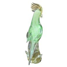 Exquisite Murano Art Glass Exotic Parrot ~ Cockatoo Green & Gold Aventurine Bird in Tree Sculpture