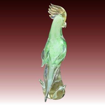 Exquisite Murano Art Glass Exotic Parrot ~ Cockatoo Green & Gold Aventurine Bird in Tree Sculpture
