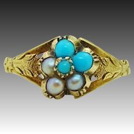 Victorian 14K Gold Persian Turquoise & Seed Pearl Flower ~ Cluster Ring