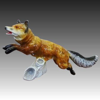 Vintage Cold Painted Leaping Fox on Driftwood Base