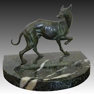 Elegant Whippet ~ Greyhound Sighthound Dog Statue on Marble Trinket Dresser, Vanity or Desk Tray