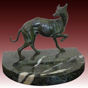 Elegant Whippet ~ Greyhound Sighthound Dog Statue on Marble Trinket Dresser, Vanity or Desk Tray