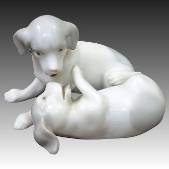 Adorable Pointer Puppy Dogs Tumbling & Playing German Porcelain