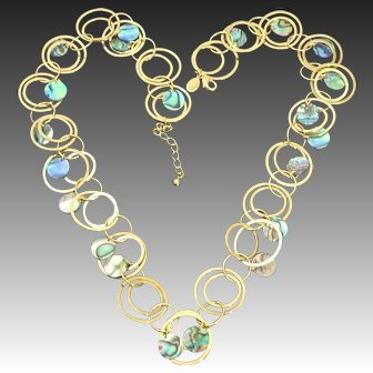 Kenneth Jay Lane ~ K.J.L. Signed Tondeleo Multi-Circle Necklace with Natural Colorful Opalescent Abalone Shell Discs