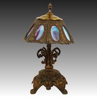 Attention Demanding Eight Panel Blue, Purple & White Pebbled Slag Art Glass Brass Table Lamp