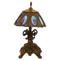 Attention Demanding Eight Panel Blue, Purple & White Pebbled Slag Art Glass Brass Table Lamp