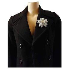 Brilliant Emmons 1960s Large Silvertone Flower Pin /Brooch Christmas Flower