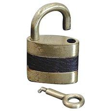 Vintage Leather Wrapped Luggage Padlock with Barrel Key