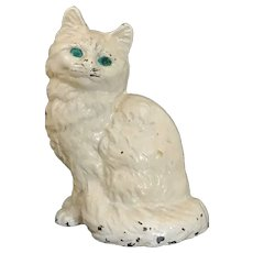 Vintage Cast Iron Sitting White Kitty Cat Doorstop ~ Mantle ~ Hearth ~ Fireplace with Original Paint