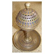 Large Ornately-made Silver Berber Enameled Incense Burner