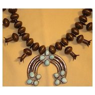 Large 1960s American Indian Squash Blossom Necklace