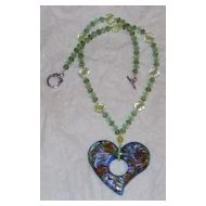 Multi-color Glass Heart Pendent Necklace