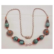Tibetan Turquoise/Coral Silver Necklace