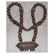 Very Old Saudi Arabian Bedouin Tube Pendant Necklace