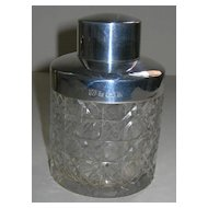 Unusual Antique Cut Crystal and Sterling Silver Tea Caddy